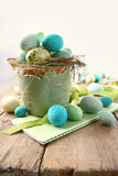Speckled eggs in bowl for Easter stock photography