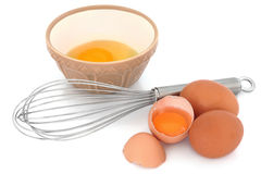 Speckled Eggs and Whisk Royalty Free Stock Photography