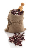 Speckled kidney beans in a burlap sack with scoop Stock Image