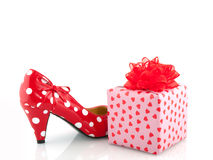 Speckles shoe and present. For love Stock Photography