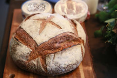 Spectacle of bread on the table. Spectacle of round bread on the table Stock Photo