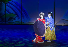 Spectacle de Kabuki aux fontaines de Bellagio Images libres de droits