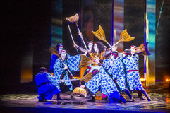 Spectacle de Kabuki aux fontaines de Bellagio image stock