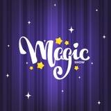 Spectacle de magie, composition letteing sur le fond magique pour votre lo illustration libre de droits