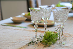 Spectacle of dishes on table. Spectacle of dishes such as glass cup on the table Royalty Free Stock Photos