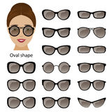 Spectacle frames and oval face Royalty Free Stock Image