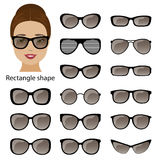 Spectacle frames and rectangle face Stock Image