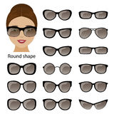 Spectacle frames and round face Royalty Free Stock Photos