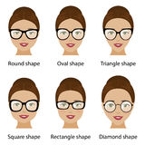 Spectacle frames and women face shapes Stock Images