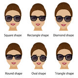 d5272f196b4 Different Glasses Shapes For Different Face Types. Vector ...