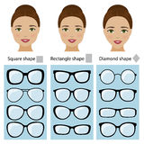 Spectacle frames for women face shapes Royalty Free Stock Image
