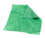Spectacle Lens Cleaning Cloth. A green spectacle lens cleaning cloth isolated on a white background Stock Images