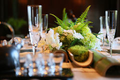 Spectacle of tableware in the room. Spectacle of table and tableware in the room Stock Photo