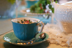 Spectacle of tea dish on table. Spectacle of tea dish on the table in the room Royalty Free Stock Image