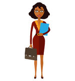 Spectacled good-looking African american business-lady. Bespectacled business-woman ready for work flat cartoon vector stock photography