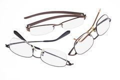 Spectacles. Three pairs of spectacles isolated on white background Stock Photography