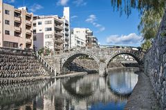 Spectacles Bridge in Nagasaki. Nagasaki, Japan at Spectacles Megane Bridge Stock Image