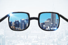 Spectacles with city view Stock Image