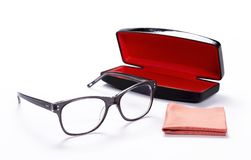 Spectacles with cleaning cloth and Case for glasses Stock Image