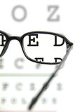 Spectacles on an eye chart Royalty Free Stock Images