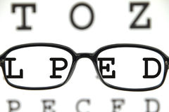 Spectacles on an eye chart. Black spectacles on an eye chart Royalty Free Stock Photos