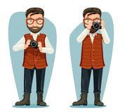 Spectacles journey photographer travel news camera blogger cartoon character design vector illustration. Spectacles journey photographer travel news blogger vector illustration