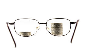 Spectacles and money Stock Photography