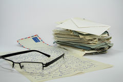 Spectacles and Old  Letters. Royalty Free Stock Images