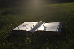 Spectacles on the open book Royalty Free Stock Photos