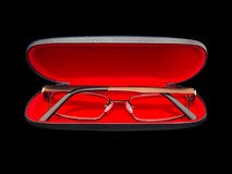 Spectacles in red velvet case Royalty Free Stock Photo