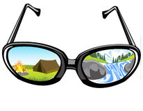 Spectacles and reflection of the nature Royalty Free Stock Photography