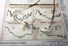 Spectacles on stocks chart. Spectacles on newspaper showing financial chart Stock Image