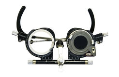 Spectacles used for eyesight tests isolated on white background. Clipping path included Stock Image