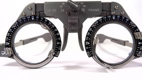 Spectacles used for eyesight tests with various lenses and occlusion Royalty Free Stock Images