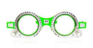 Spectacles used for eyesight tests on a white background Royalty Free Stock Photo