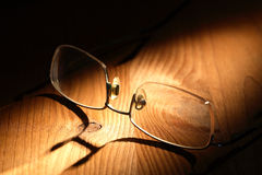 Spectacles On Wood Stock Photos