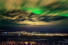 Spectaculaire Aurora borealis Noordelijke Lichten Stock Afbeeldingen