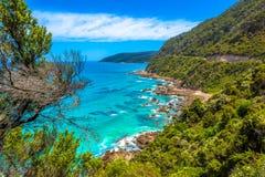 Spectaculaire mening van de Grote Oceaanweg stock foto's