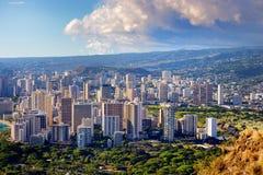 Spectaculaire mening van de stad van Honolulu, Oahu royalty-vrije stock foto's