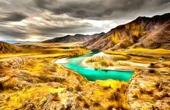 Spectaculaire meningen van de rivier, de canion en de hemel royalty-vrije illustratie