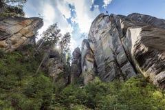 Spectaculaire Rotsen in Rotsstad Ardspach, Tsjechische Republiek Royalty-vrije Stock Foto