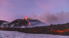 Spectaculaire Volcano Etna-uitbarsting, Sicilië, Italië stock afbeeldingen