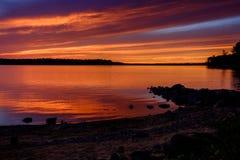 Spectaculaire Zonsondergang op het Reservoir Stock Afbeeldingen