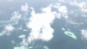 Spectacular aerial helicopter flyover white fluffy clouds in sky over wild nature turquoise lake green tropical forest. Fascinating aerial helicopter flyover stock video