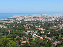 Spectacular aerial panorama of Livorno city made from the nearby hills of Montenero on sunny day, Tuscany Italy Royalty Free Stock Photos