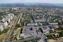 Spectacular aerial view (340 м) of Moscow, Russia. Royalty Free Stock Photo