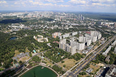 Spectacular aerial view (340 м) of Moscow, Russia. Royalty Free Stock Images