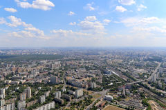 Spectacular aerial view (340 m) of Moscow, Russia. View from Ostankino television tower Stock Images