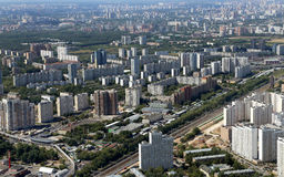 Spectacular aerial view (340 м) of Moscow, Russia. Royalty Free Stock Photography