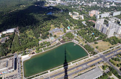 Spectacular aerial view (340 м) of Moscow, Russia. Royalty Free Stock Photos